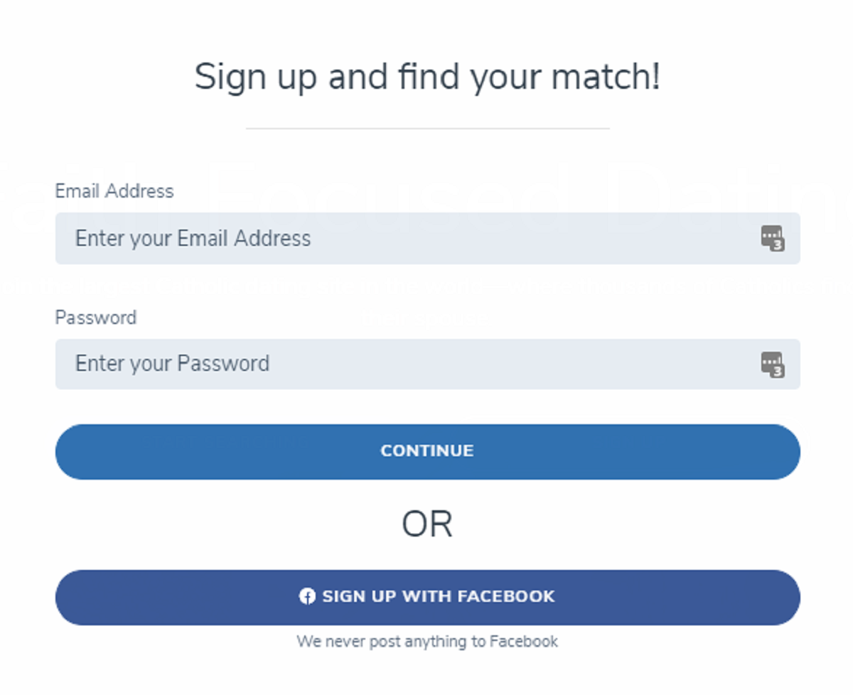 Catholic Match Registration Form
