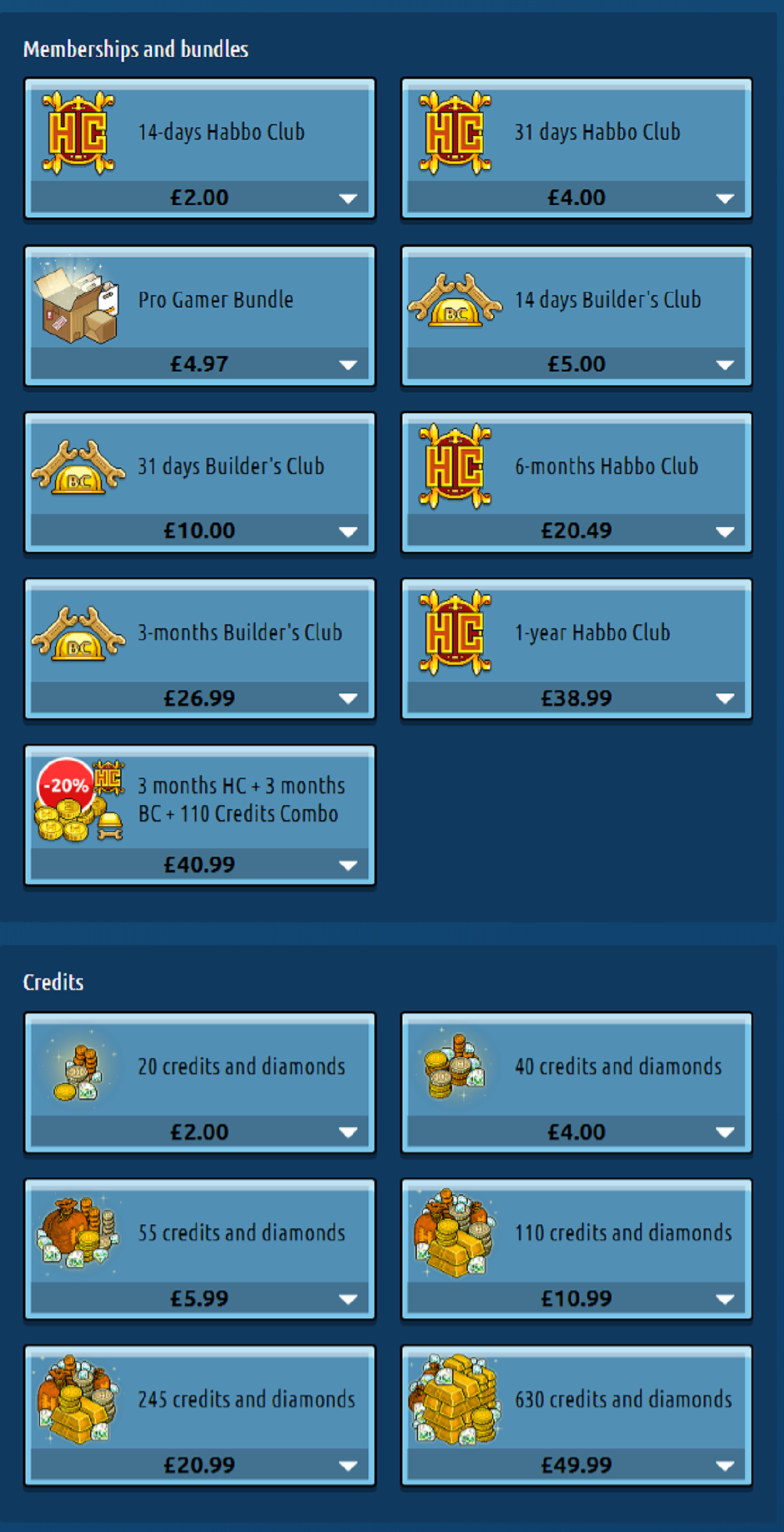 Habbo Prices UK