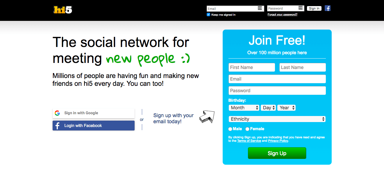 hi5 Registration
