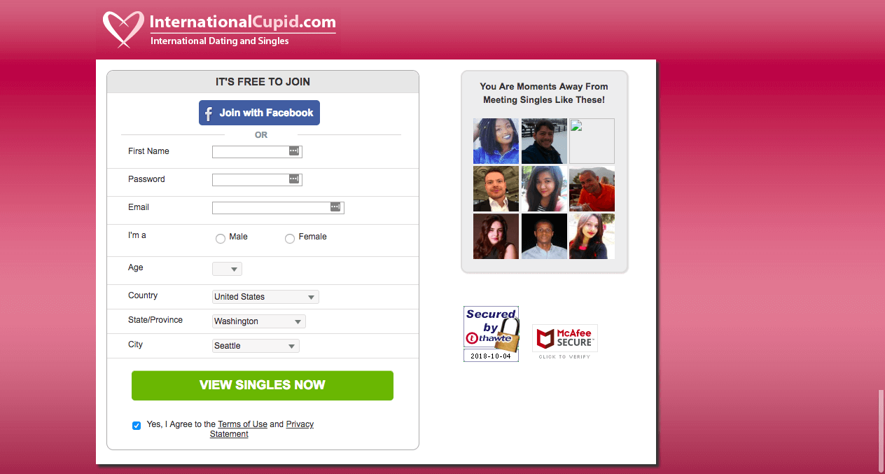 International Cupid Registration