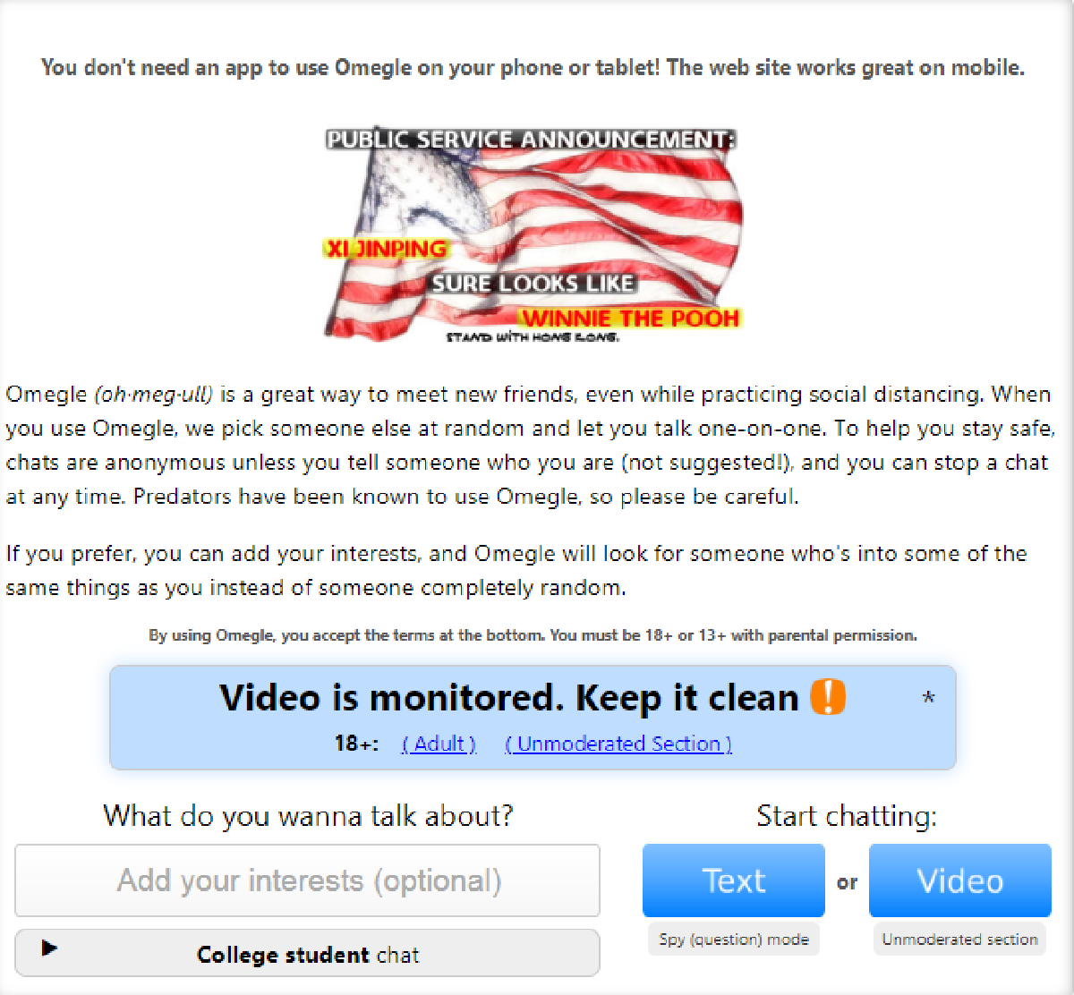 Omegle Dating Site.