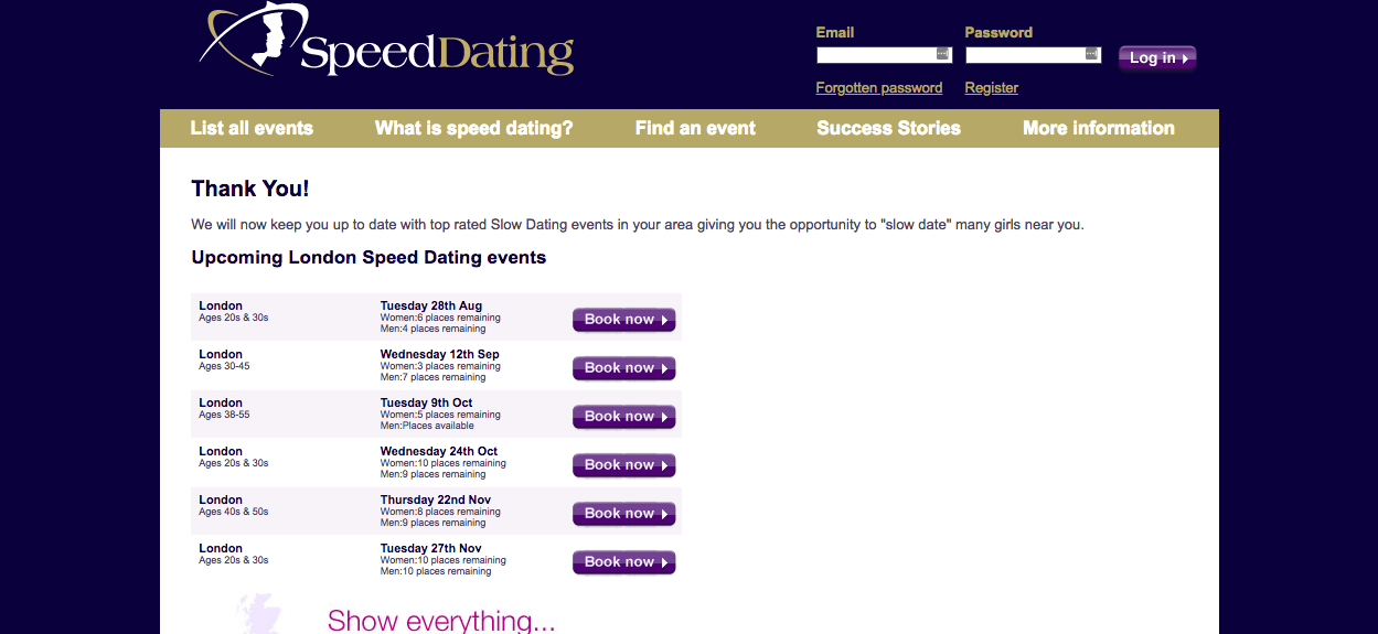 Speed Dating Events List