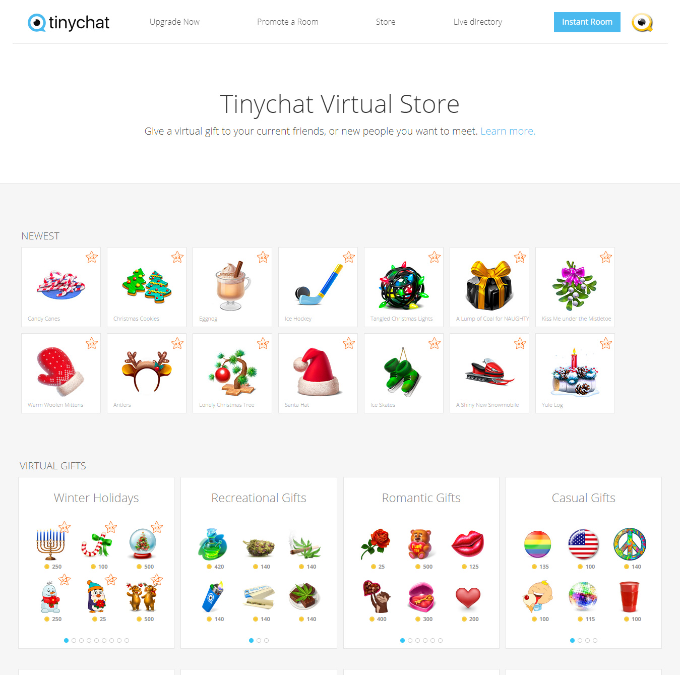 Tinychat Virtual Store