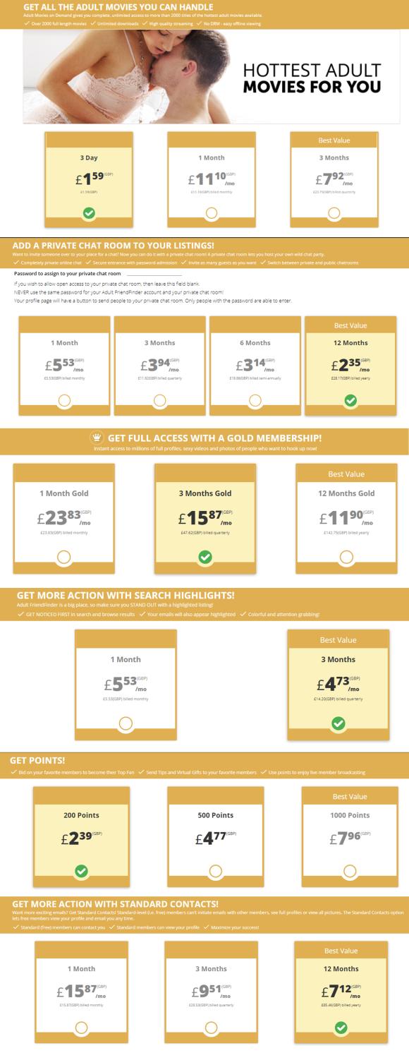 Adultfriendfinder UK Price