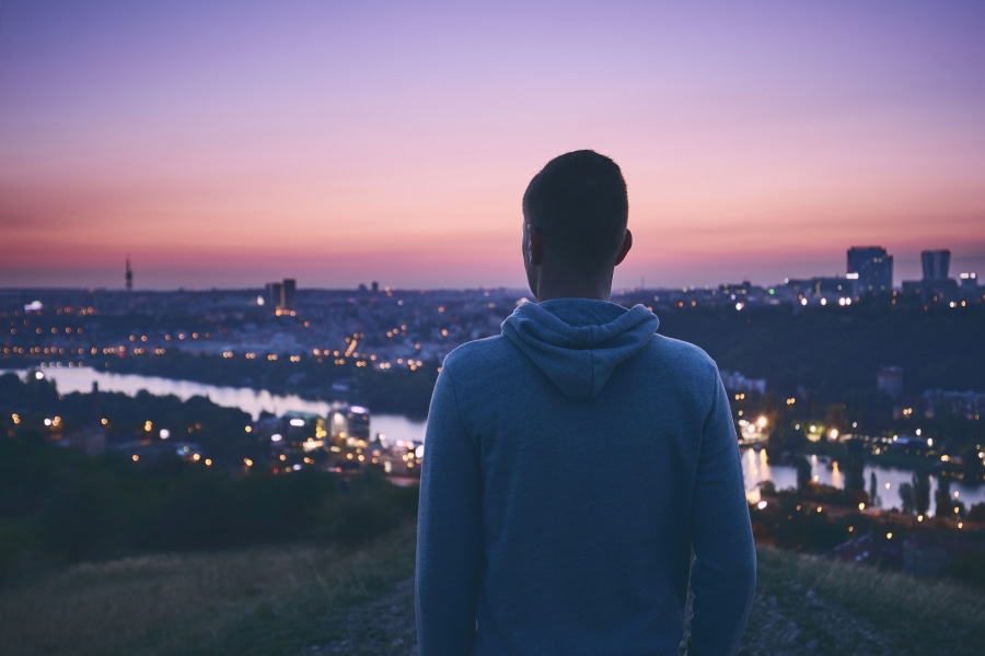 friendzone man looking over the city