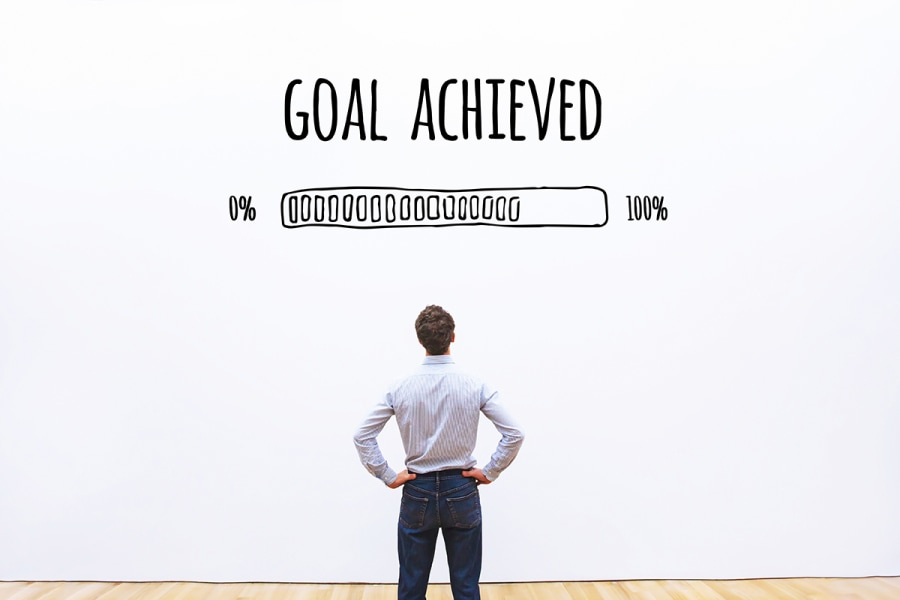 Man focusing on what he achieved