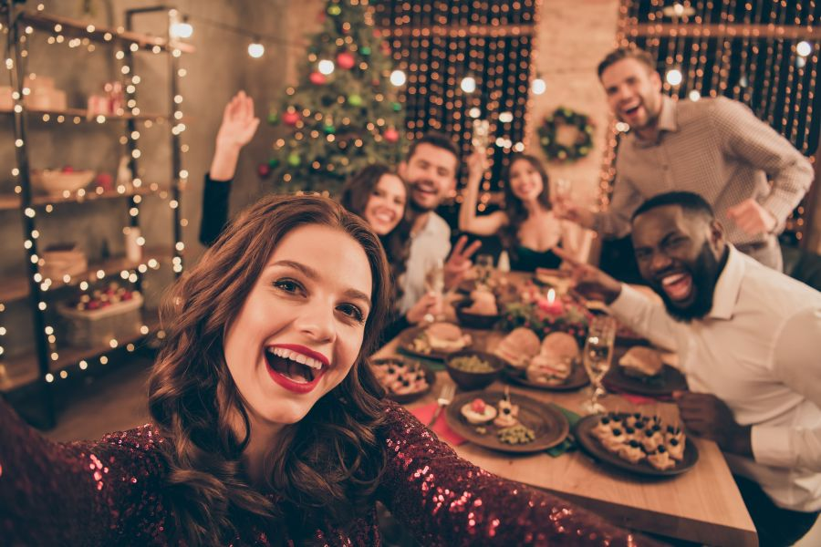 Christmas Girl With Friends