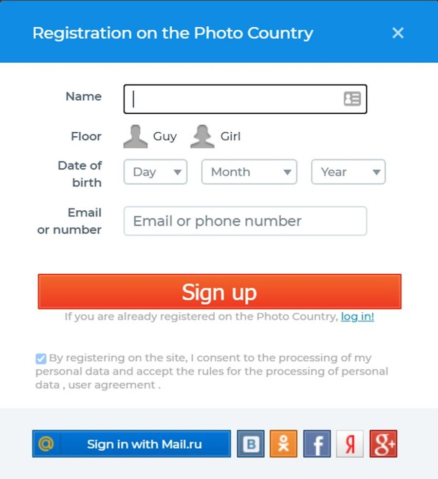Fotostrana Registration