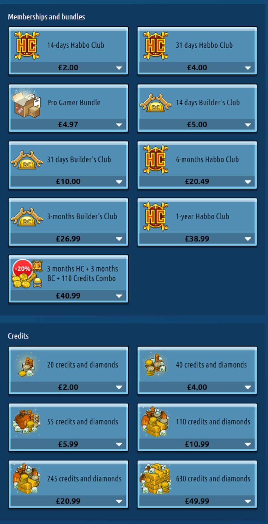 Habbo Prices UK