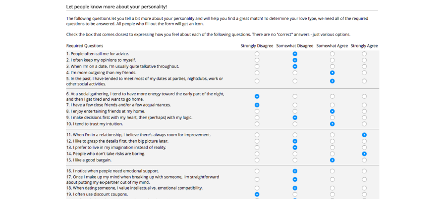 Perfect Match Personality Test