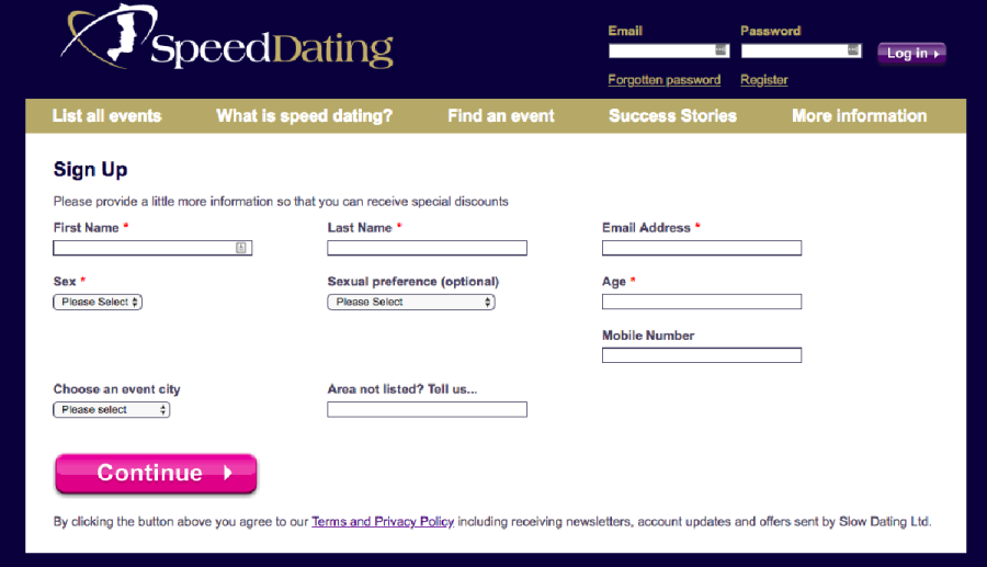Slow Dating SignUp